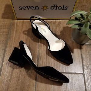 Seven Dials Black velvet sling back heels point to